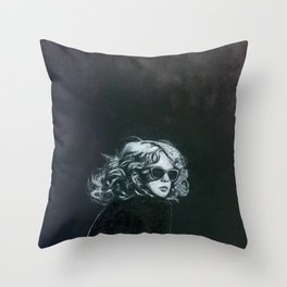 Little Sips - A Portrait of Drew Barrymore Throw Pillow