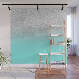 Modern girly faux silver glitter ombre teal ocean color bock Wall Mural