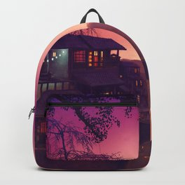 Romantic Couple On Bridge In Idyllic Little Town Above Valley Anime Purple Shade Ultra HD Backpack