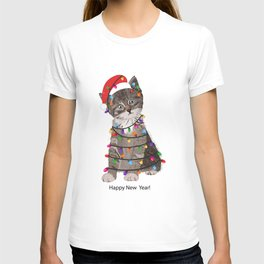 Cute cat with Santa Claus hat and light bulb T-shirt
