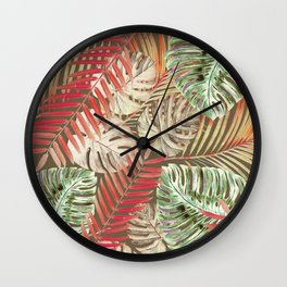 Jungle Tangle Red On Brown Wall Clock