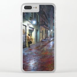 Musician in the night Clear iPhone Case