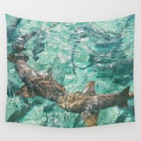sharks Wall Tapestries featuring Sharks by Chelle Wootten