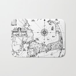 Vintage Map of Cape Cod BW Bath Mat