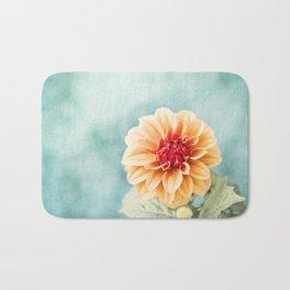 Aqua Orange Dahlia Flower Photography, Turquoise Teal Peach Nature Art Bath Mat