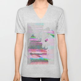 Abstract pastel painting in pink and green, watercolor design Unisex V-Neck