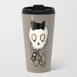 Girly Skull with Black Bow / Die for Music Travel Mug