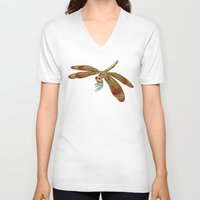 dragonfly V-neck T-shirts featuring Dragonfly by Tim Jeffs Art