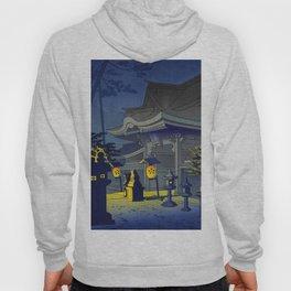 Japanese Woodblock Print Vintage Asian Art Colorful Woodblock Prints Shrine At Night Lantern Hoody