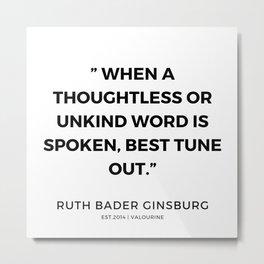 45     191115   Ruth Bader Ginsburg Quotes Metal Print