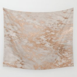 Rose Gold Copper Glitter Metal Foil Style Marble Wall Tapestry