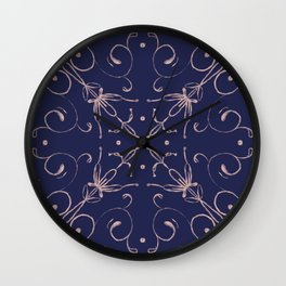 Tile blue and blush 2 Wall Clock