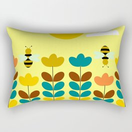 Flowers with bees Rectangular Pillow