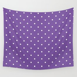 Small White Polka Dots with Purple Background Wall Tapestry