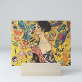 Gustav Klimt Lady With Fan  Art Nouveau Painting Mini Art Print