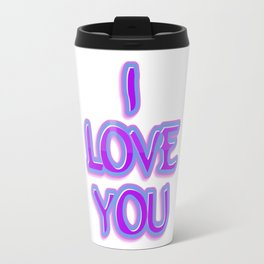 Purple and Blue I Love You Text Travel Mug