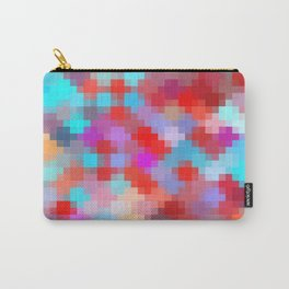 geometric square pixel pattern abstract in pink red blue Carry-All Pouch