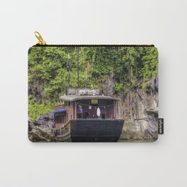 Traditional House Boat with a Clothesline on the back Parked in front of One of Limestone Mountains in Halong Bay, Vietnam Carry-All Pouch