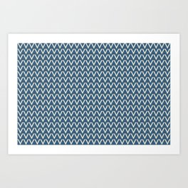 Linen White V Chevron Pattern on Blue Pair To 2020 Color of the Year Chinese Porcelain PPG1160-6 Art Print