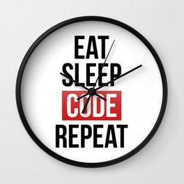 EAT SLEEP CODE REPEAT Wall Clock