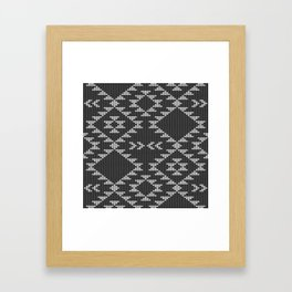 Southwestern textured navajo pattern in black & white Framed Art Print