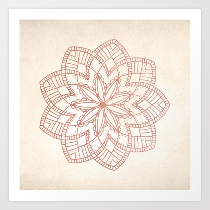 Flowery Rose Gold Mandala on Cream IV Kunstdrucke