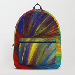 RAINBOW EXPLOSION - Vibrant Smile Happy Colorful Red Bright Blue Sunshine Yellow Abstract Painting  Backpack