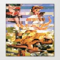 xena Canvas Prints featuring Glitch Pin-Up Redux: Xena by Wayne Edson Bryan