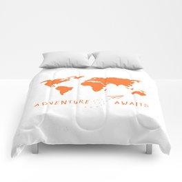 Adventure Map - Retro Orange on White Comforters
