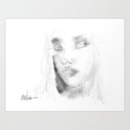 Girl in Pencil Art Print
