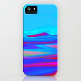 """Pixel Beach"" (Ice Blue/Red) Digital Painting // Fine Art Print iPhone Case"