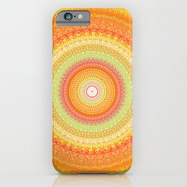 Bright Yellow Orange Mandala iPhone Case