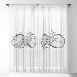 Infinity Symbol with Feather Sheer Curtain