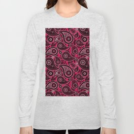 Ruby Red Paisley Pattern Long Sleeve T-shirt