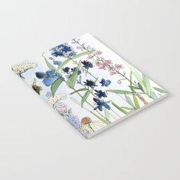 Wildflower in Garden Watercolor Flower Illustration Painting Notebook