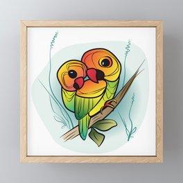 Inseparable Parrots Framed Mini Art Print