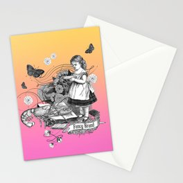 Surreal Collage with a Girl and her Lobster Pet Stationery Cards