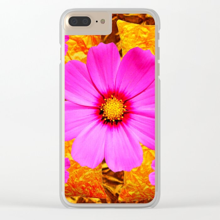 PINK COSMOS FLOWERS ON GOLD ART Clear iPhone Case