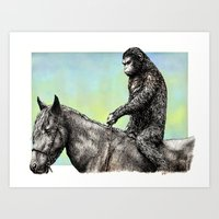 planet of the apes Art Prints featuring Planet of the Apes (Caesar) by Hector Trunnec