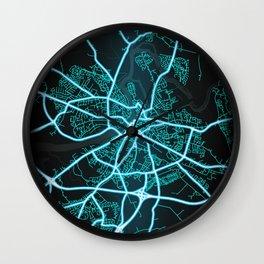 Limerick, Ireland, Blue, White, Neon, Glow, City, Map Wall Clock