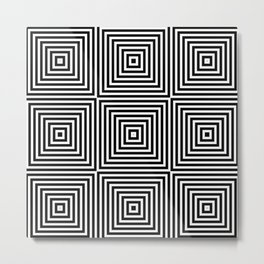 Square Optical Illusion Black And White Metal Print