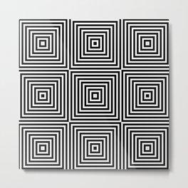 Square Optical Illusion Black And White Metal Print