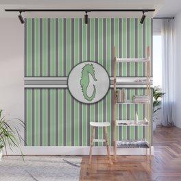 Green Sea Horse Stripes Pattern Design Wall Mural