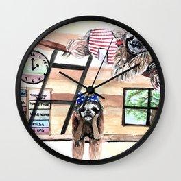 Peek into a treehouse Wall Clock