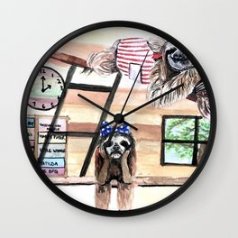 Peek into a treehouse Wall Clock