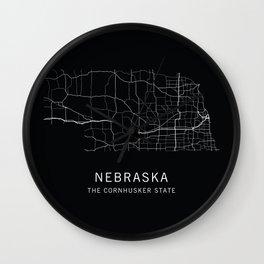 Nebraska State Road Map Wall Clock