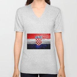 Flag of Croatia - Raindrops Unisex V-Neck