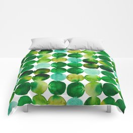 Green Watercolor Circles Pattern Comforters