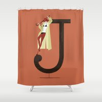 archer Shower Curtains featuring Jenny & Archer by ChicksAndType