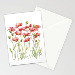 Red Poppies, Illustration Stationery Cards
